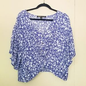 NWOT Blue and White Flowy Top